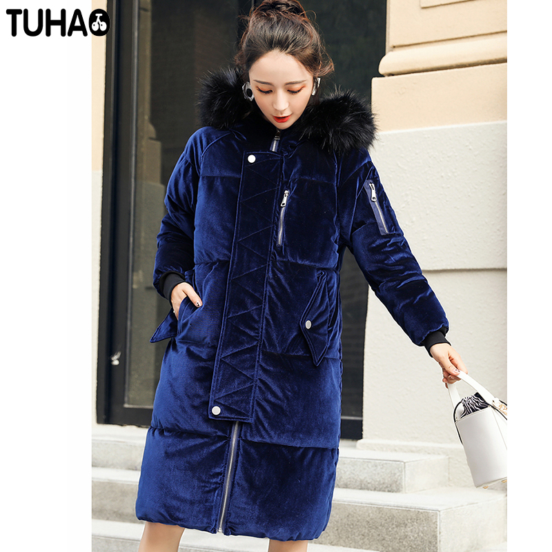 TUHAO 2017 New Women Long Winter Velvet Jacket Thick Warm Coat Pure Color Hooded Fur Collar Female Parkas Wadded Outwear LW05 best price mgehr1212 2 slot cutter external grooving tool holder turning tool no insert hot sale brand new