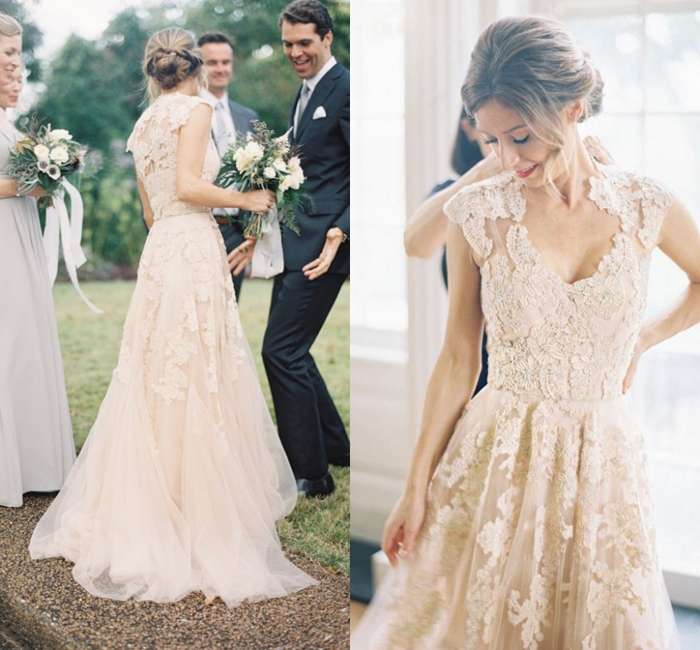 Champagne Vintage Wedding Dresses: Vintage Champagne Lace Cap Sleeves Wedding Dresses 2015