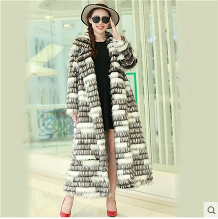 Для женщин модные свободные Большие Размеры искусственного меха лисы пальто N23