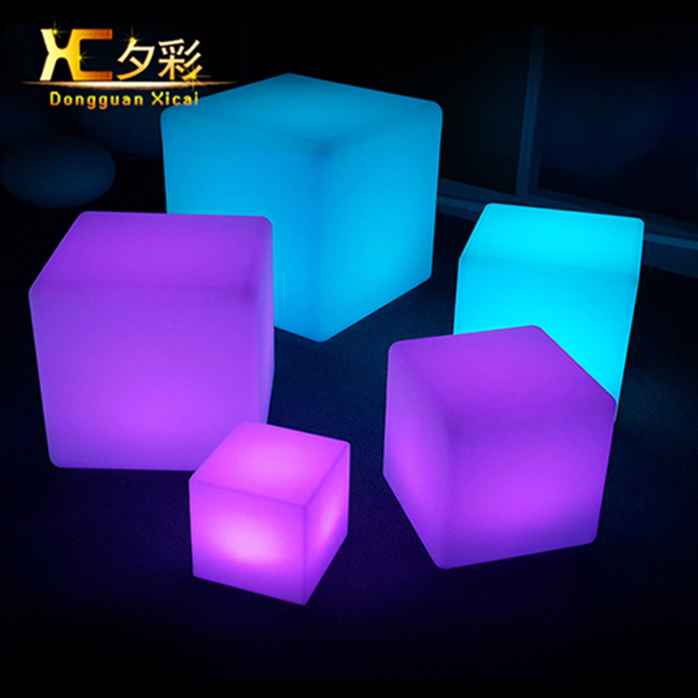 40cm Rechargeabe Cordless Outdoor Garden Decorative LED Cube Stool Waterproof Patio Plastic Chair