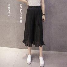 Black Pants Wide Leg 8 Colors S-XL Summer Korean Ruffles Chiffon Capris Women Beach Hipster Pink Pleated Pantalones Mujer 2019