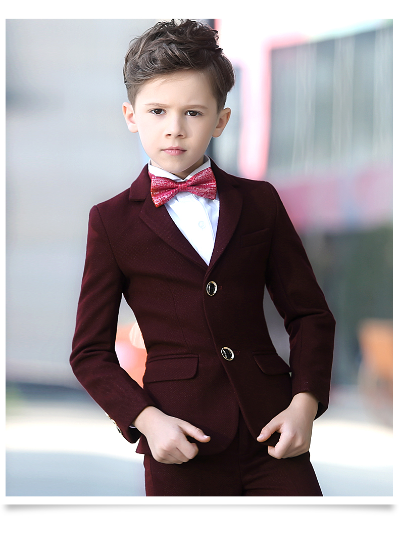 2018 spring boys clothes kids burgundy blazers boy formal suit for weddings solid color single breasted gentleman prom clothing high quality school uniform new fashion baby boys kids blazers boy suit for weddings prom formal gray dress wedding boy suits
