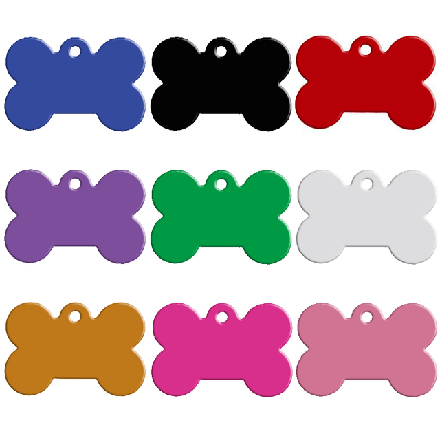 100 pz/lotto di Alluminio Pet ID Tag Osso Forma Double Sided Personalizzata Inci