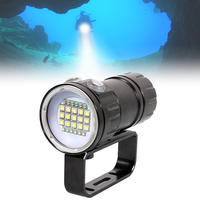 QH27 180W Fifteen 5050 White XML2 Six XPE Red R5 Six XPE Blue R5 LED Underwater 80m Scuba Diving Canister Light for Diving Video