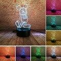 Популярная светящаяся мультяшная 3D мышь для мальчиков и девочек с Микки Маусом  светодиодная градиентная Ночная лампа с USB сенсорной светод...