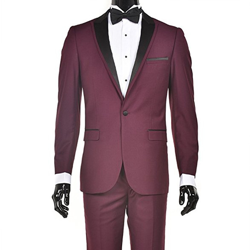 Custom Suit Made New Style Black Red Wine Suits Men's Slim Fit Suits Wedding Groom Suits 2 Piece (Jacket + Pants)