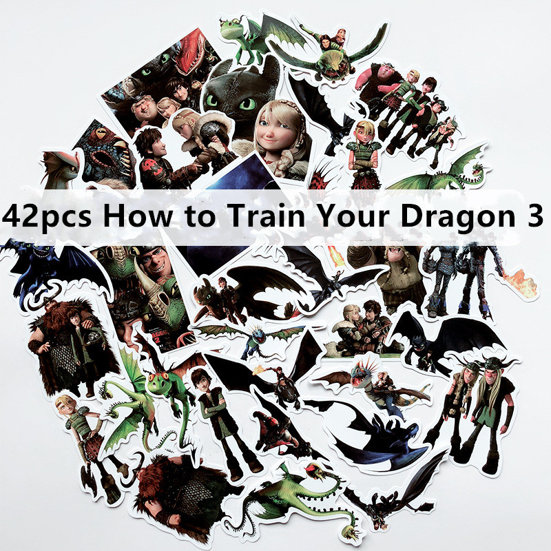 42pcs  How To Train Your Dragon 3 Animation Does Not Repeat Waterproof Sticker Sticker Suitcase Notebook Scooter Sticker