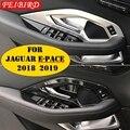 Автомобильные аксессуары для Jaguar E-pace E pace 2018 2019 ABS внутренняя дверная ручка  ручка  накладка  Матовый Стиль из углеродного волокна