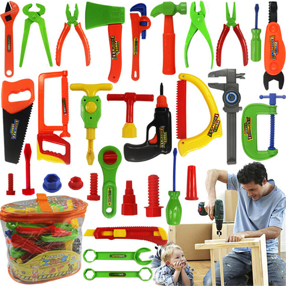 32Pcs/set Educational Children Carpentry Repair <font><b>Tools</b></font> <font><b>Toy</b></font> Pretend Play Play House <font><b>Toys</b></font> Baby Early Learning <font><b>Toys</b></font> Wholesale image