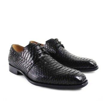 100% змеиной Урожай ретро сшитое мужская дерби обувь высокий мода роскошные свадебные 100% натуральной кожи и уникальный дизайн