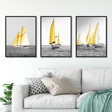 Hot sale Nordic style Black and white yellow water ship Art Canvas Poster and Print Canvas Painting Decorative Wall Decor P0043(China)