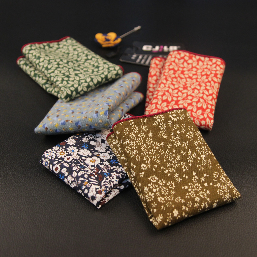 11colors High Quality   Scarves Vintage Cotton Hankies Men's Pocket Square Handkerchiefs Flower 24*24cm  10pcs/lot