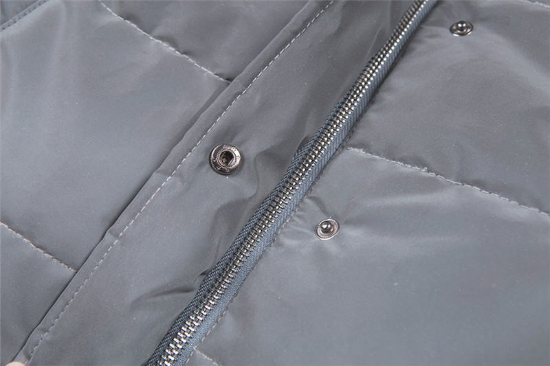 Dulzura flash reflective women padded jacket short tops warm 18 autumn winter solid zipper oversize loose outwear coats casual 25