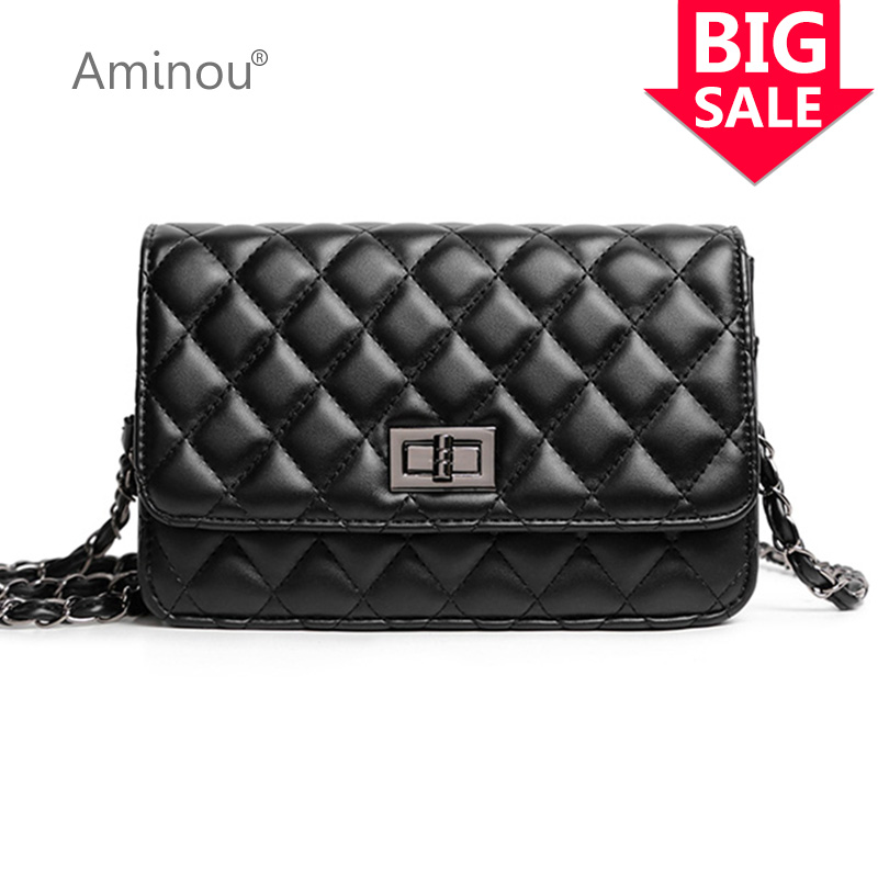 все цены на High Quality Gold Chain Flap Bag Fashion Women Quilted Plaid Shoulder Bags Vintage Black Leather Ladies Crossbody Bag For Girl