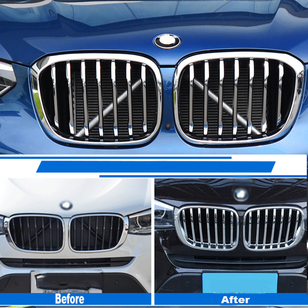 ABS Chrome Front Center Grill Grid Grille Cover Trim 14pcs For X3 G01 X4 G02 2018 2019 Car Styling AccessoriesABS Chrome Front Center Grill Grid Grille Cover Trim 14pcs For X3 G01 X4 G02 2018 2019 Car Styling Accessories