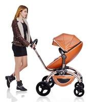 Leather luxury Parabebe Baby Stroller Four Wheels High Landscope Bebek Arabasi Kinderwagen Poussette