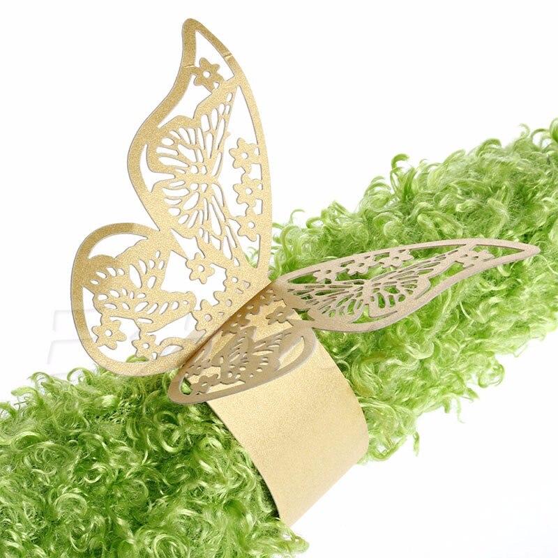 Heißer Verkauf 50 teile/los Gold Schmetterling Design Tisch Papier Serviette Ringe Für Hochzeit Party Dekoration Porta Guardanapo