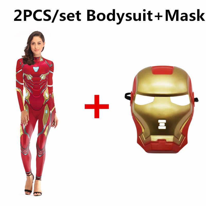 2019 هالوين ازياء 3D الطباعة المنتقمون Endgame الحديد رجل سيدة زي للنساء تأثيري قناع Zentai دنة ارتداءها الدعائم