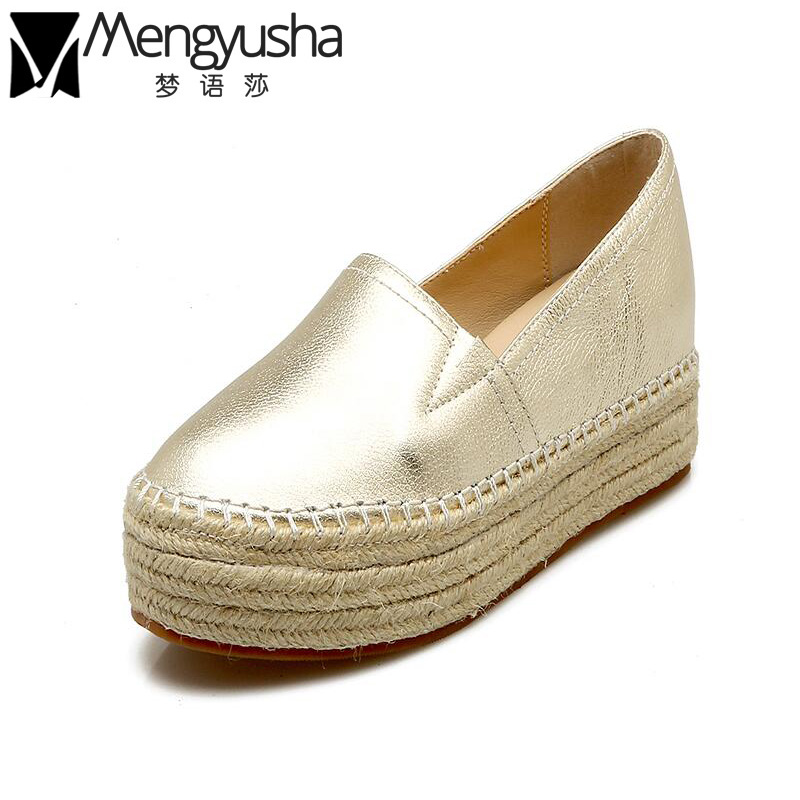 Luxury Women Flats Genuine Leather Shoes Woman Slip On Loafers Creepers Woman Flats Platform Shoe Espadrilles Ladies Silver Gold women ladies flats vintage pu leather loafers pointed toe silver metal design