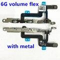 10 pçs/lote Nova Alta Qualidade Botão Power Switch Mute Volume Flex com suporte de metal cabo de fita para iphone 6 6g 4.7 polegadas