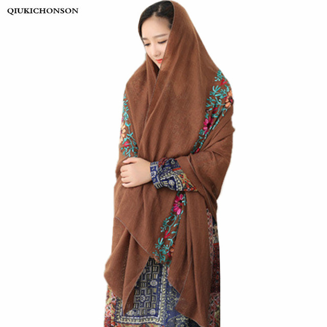 Vintage India flor étnica bordado algodón Lino pashmina bufanda mujer bufandas bohemio a prueba de sol capa chal echarpe Mujer