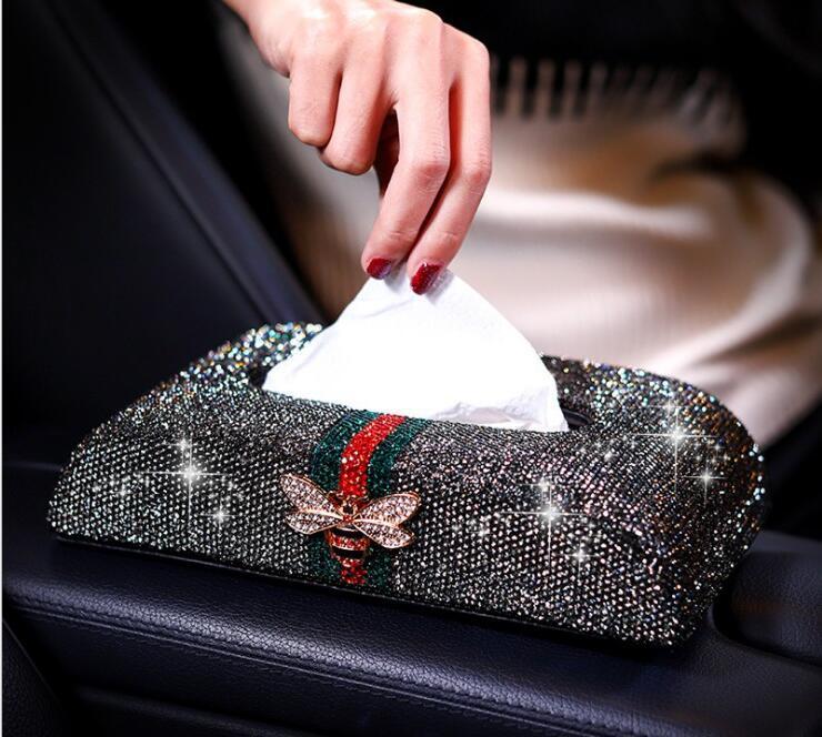 Motyl dekoracyjne inkrustowane diament skórzany samochód tkanki pole samochód pudełko na chusteczki serwetnik s papieru serwetnik PZJH047 w Pudełka na chusteczki od Dom i ogród na  Grupa 2