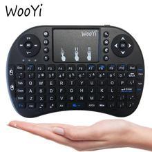 WooYi i8 Mini klawiatura bezprzewodowa 2.4GHz angielski rabic rosyjski hebrajski QWERTY klawiatura touchpad do laptopa tv box z androidem x96 x92