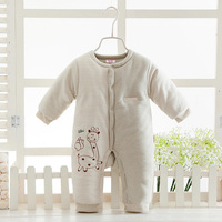 2019 New Organic Colored Cotton Baby Jumpsuit Newborn Baby Plus Thick Autumn Winter Clothes Baby Boy Girl Warm Cotton Romper