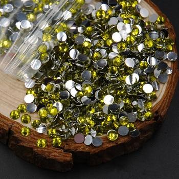 Hot Promotion Olivine   Crystal 5000pcs 3D Acrylic Nail art Rhinestones Flat Back Non Hotfix Stones DIY