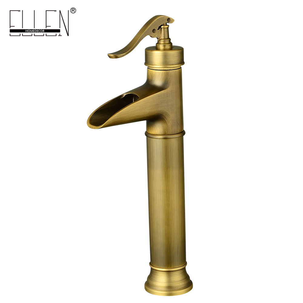 Vintage style waterfall basin faucet soild brass antique bronze tall faucets single handle dual contral water tap mixer soild brass white painted bathroom tall basin faucet single handle dual control hot and cold water tap torneiras