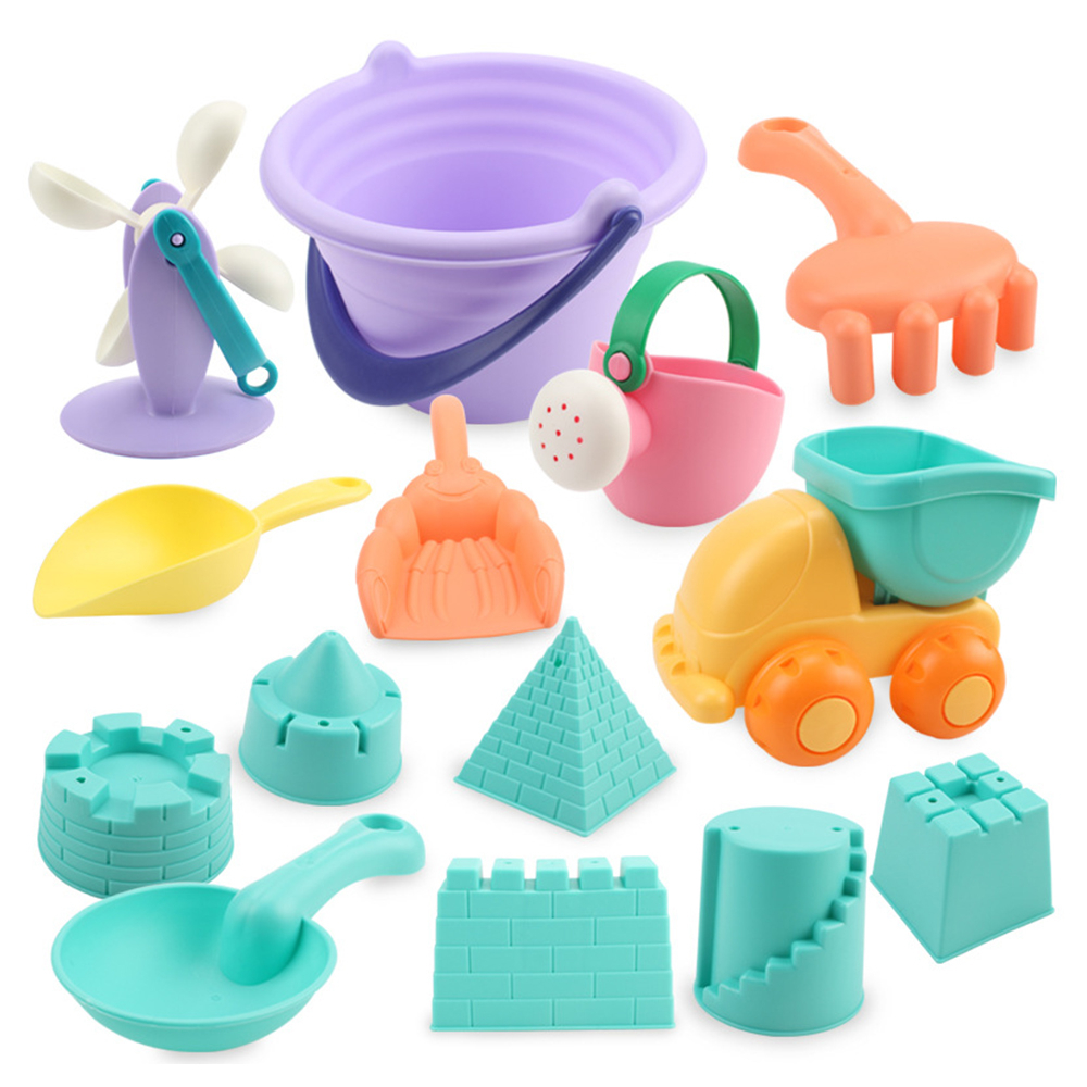 22PCS Summer Silicone Soft Beach Toy For Children SandBox Set Beach Cart Bucket Rake Hourglass Mesh Bag Dune Tool Toys Sand Mold