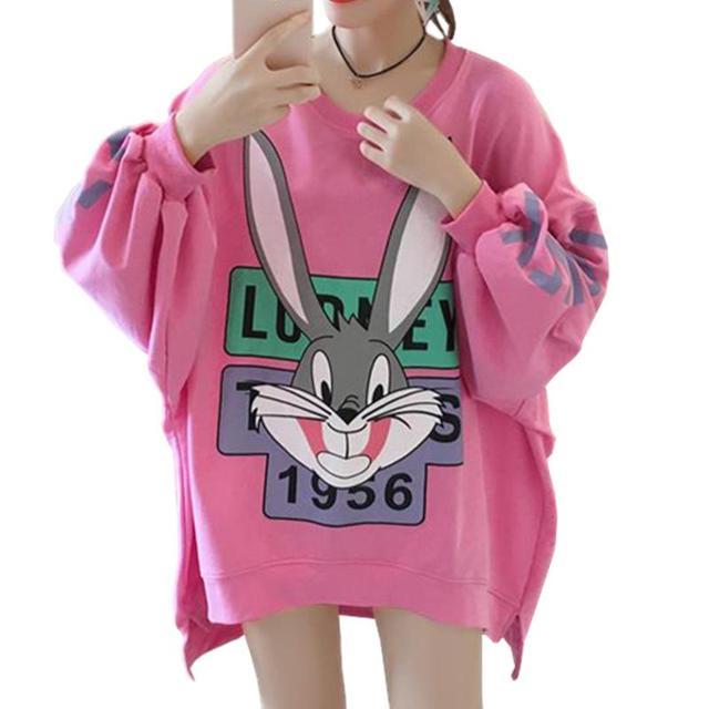 mirada detallada 4012f 8477b € 23.8 |Harajuku Bugs Bunny sudaderas capucha mujeres Sudadera conejo cara  carta imprimir Loose Pullover Hoodies Animal Cartton Sudadera Mujer en ...
