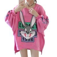 5f473977a4239c Harajuku Królik Bugs Kaptur Bluzy Kobiety Bluza Twarzy List Druku Luźne  Swetry Cartton Zwierząt Sudadera Mujer. Harajuku Bugs Bunny Hood Hoodies  Women ...