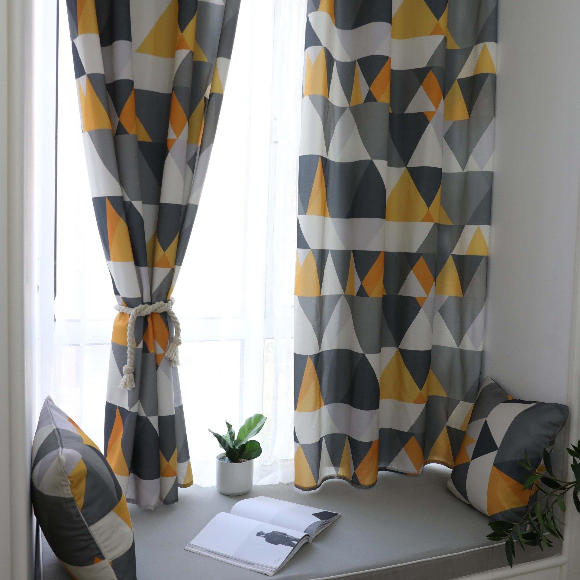Rideau fini imperméable Polyester coton Semi-ombrage géométrique impression rideau salon chambre balcon tissu personnalisé