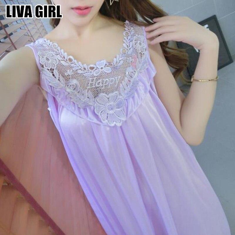 Liva girl simple dames élégantes dentelle fleur sans manches col v chemise de nuit en soie de faux chemise de nuit pour femmes vêtements cadeaux