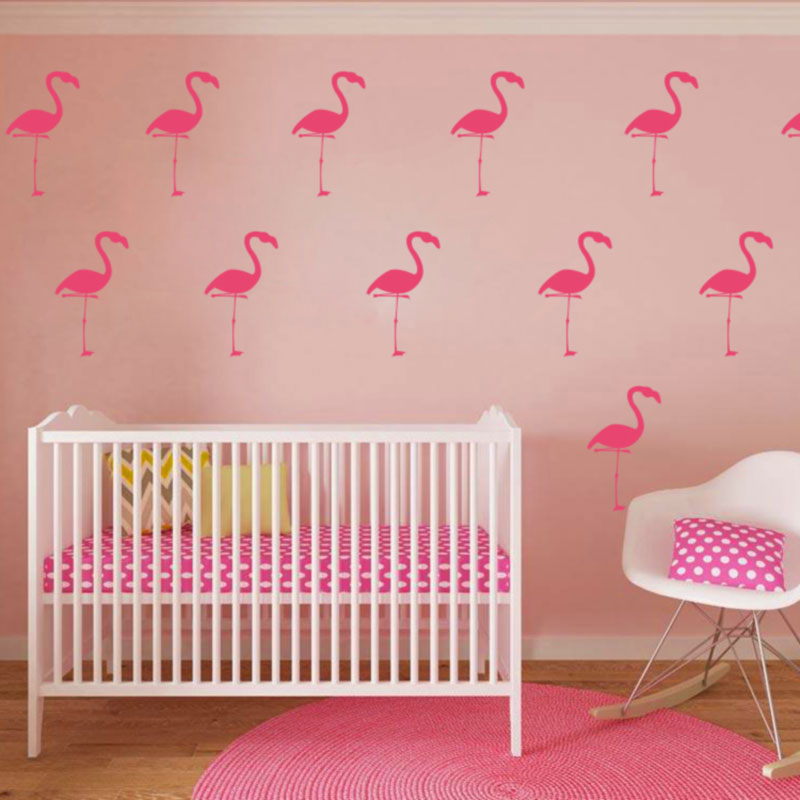 Aliexpress Baby Nursery Cartoon Flamingo Wall Sticker Decals Tropical Bird Cut Vinyl Kids Room Easy Art Home Decor From Reliable