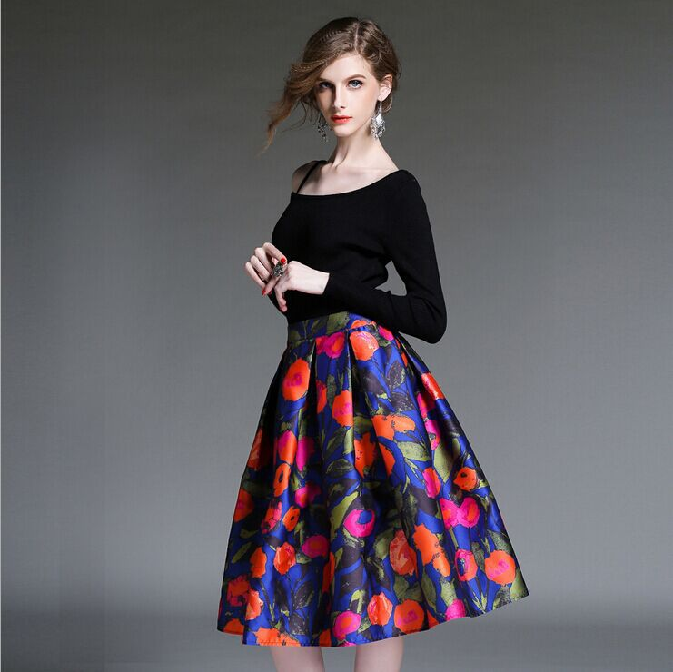 03d8f9e44b9 Crop Top And Skirt Set Limited Full Brand Skirt Suit Retro Fashion Women  Knitting Wear Casual Flowers Print Suits YSTS048A14-in Women s Sets from  Women s ...