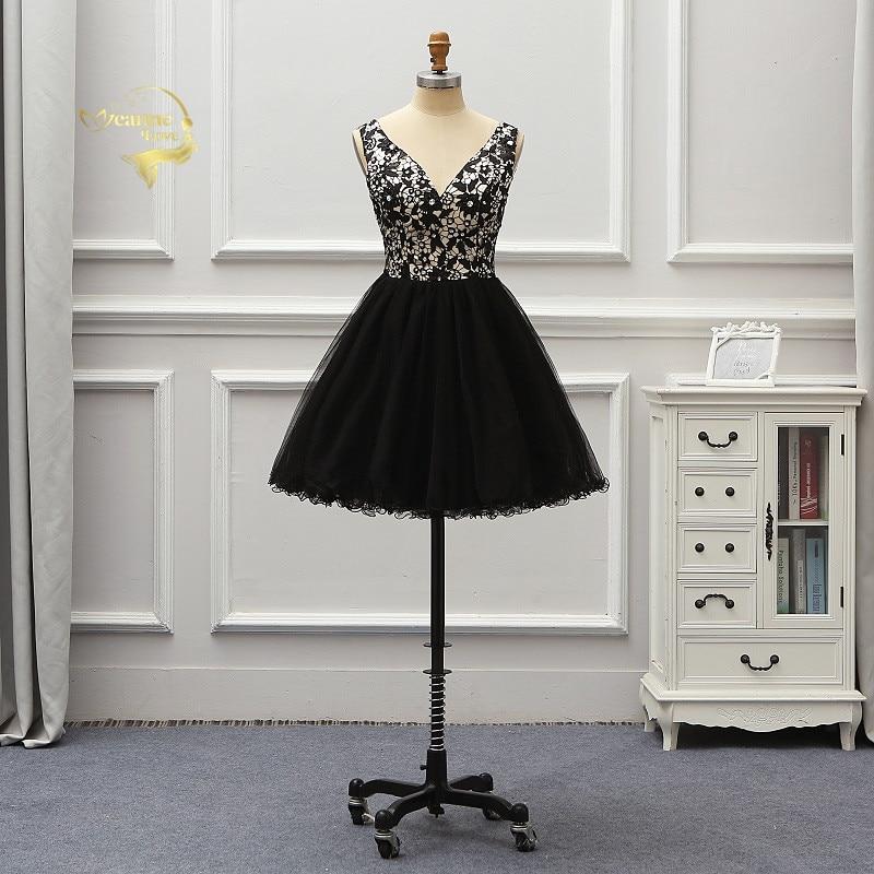 Vestido De Noiva Short Black Lace Cocktail Party Dresses Mini Ball Gown Brides Homecoming Dresses Abiye Gece Elbisesi CO1Y