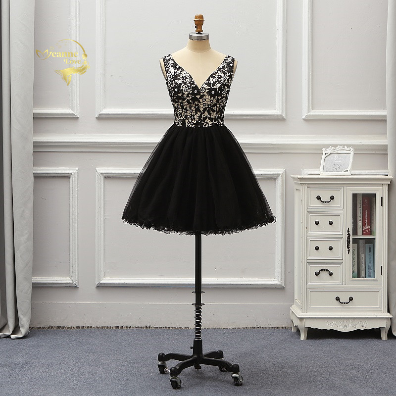 Vestido De Noiva Short Black Lace   Cocktail   Party   Dresses   Mini Ball Gown Brides Homecoming   Dresses   Abiye Gece Elbisesi CO1Y