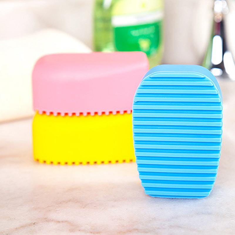 High Quality Brush Silicone Laundry Chores Clean Clothes Mini Household Cleaning Brush Laundry Rub Cleaning Tools Random Color