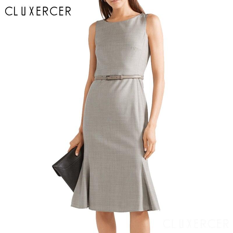 Robe d'été 2019 femmes bureau Style solide sans manches robe De réservoir élégant robes De soirée avec ceinture Vestidos De Verano