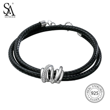 SA SILVERAGE 925 Sterling Silver Leather Wrap Bracelets Bangles for Women Fine Jewelry Black Two Layer 925 Silver Wrap Bracelet