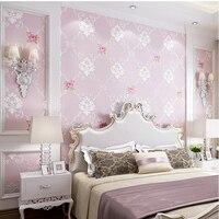 3D Flower Non Woven Wallpaper Sweet Pastoral Bedroom Living Room Sofa TV Background Wall Paper