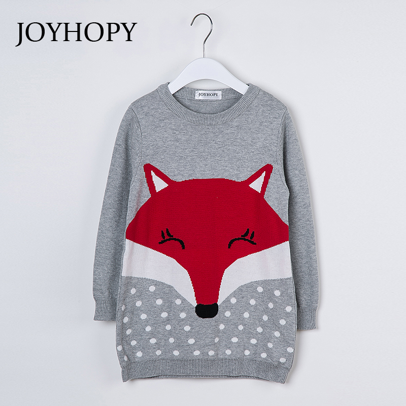 JOYHOPY Kids Sweater Dress Spring Autumn Winter Children Clothing Fashion Casual Dress Cute Fox Toddler Baby Girls Clothes 1-5y 2016 new winter spring autumn girls kids boys bunnies patch cotton sweater comfortable cute baby clothes children clothing