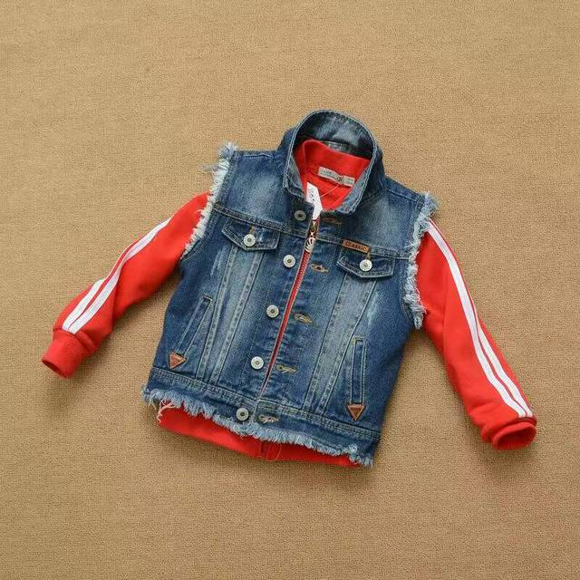 2016 Autumn Baby Boys Denim Vest waistcoat Soft white washing grinding scratches cowboy vest wholesale