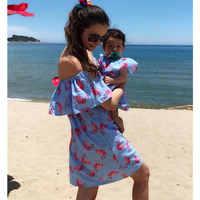 Одежда для мамы и меня платья для мамы и дочки с открытыми плечами платье для мамы и дочки с Фламинго одинаковые комплекты для семьи, D020