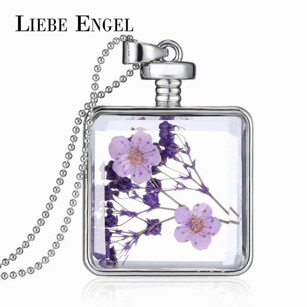 LIEBE ENGEL Fashion Glass Collares Vintage Silver Color font b Jewelry b font Newest Dry Flower
