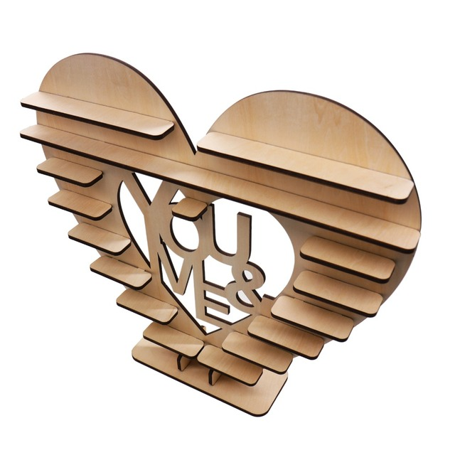 1pcs Heart Shape Wood Cake Stand Candy Pop Chocolate Stand Romantic
