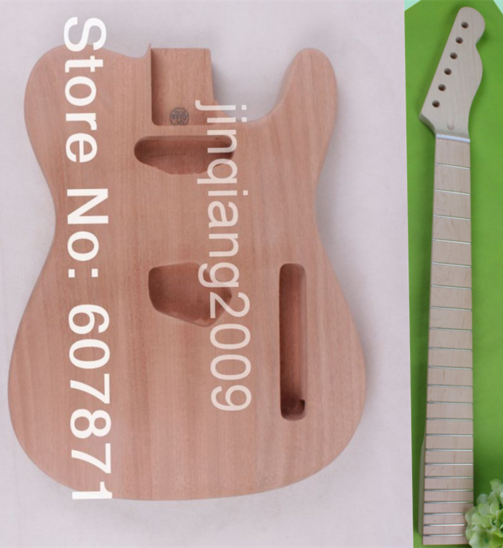 one   electric guitar neck maple made and maple  fingerboard Bolt on mahogany body one set left unfinished guitar neck and body mahogany made and maple top body