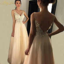 Sexy V neck Beige A line 2019 Evening Dress Illusion Beading Appliques Lace Open Back Chiffon Prom Sleeveless Soiree Robe